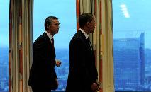 Secretario general de la OTAN, Jens Stoltenberg, y presidente de EEUU, Barack Obama