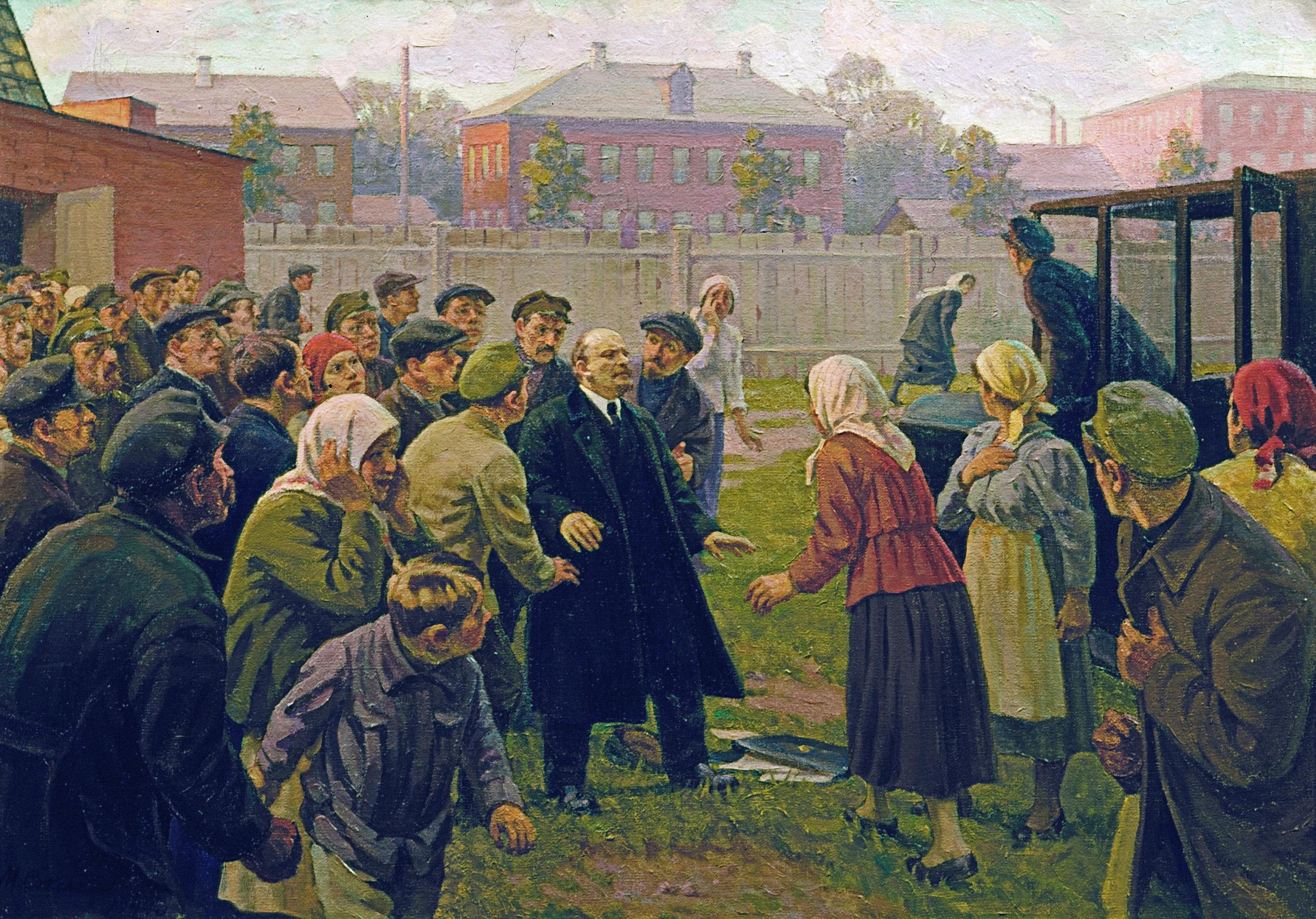 El cuadro Atentado contra Vladímir Lenin, el 20 de agosto de 1918 del artista Mijaíl Sokolov