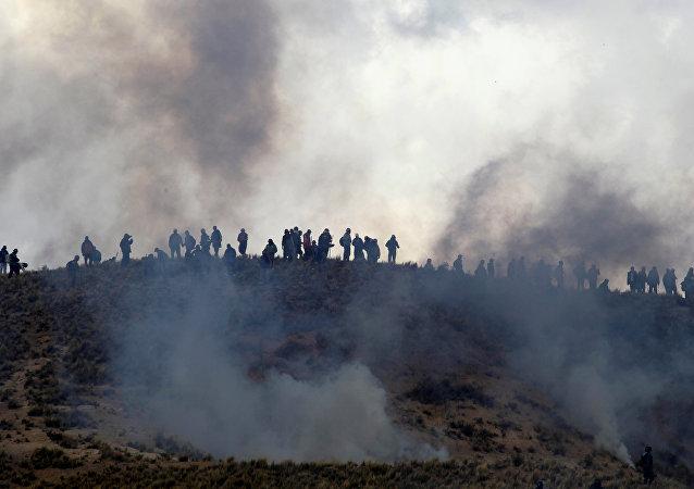 Protesta de mineros bolivianos