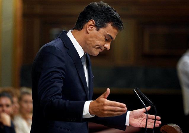 Pedro Sánchez, el líder del PSOE, durante el debate de investidura (archivo)