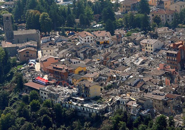 La ciudad italiana de Amatrice, destruida por el terremoto