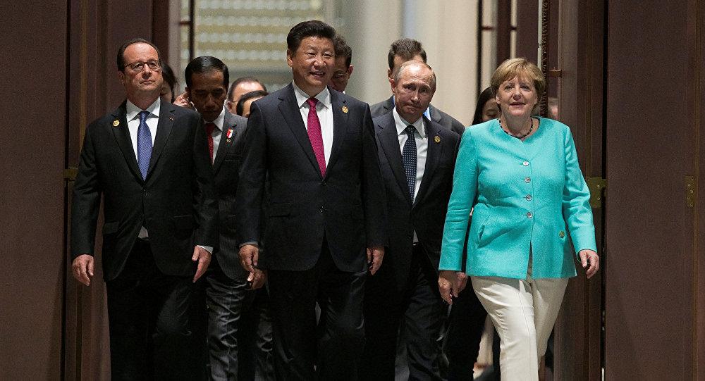 Francois Hollande, Xi Jinping, Vladímir Putin, Angela Merkel durante la Cumbre del G20 en China