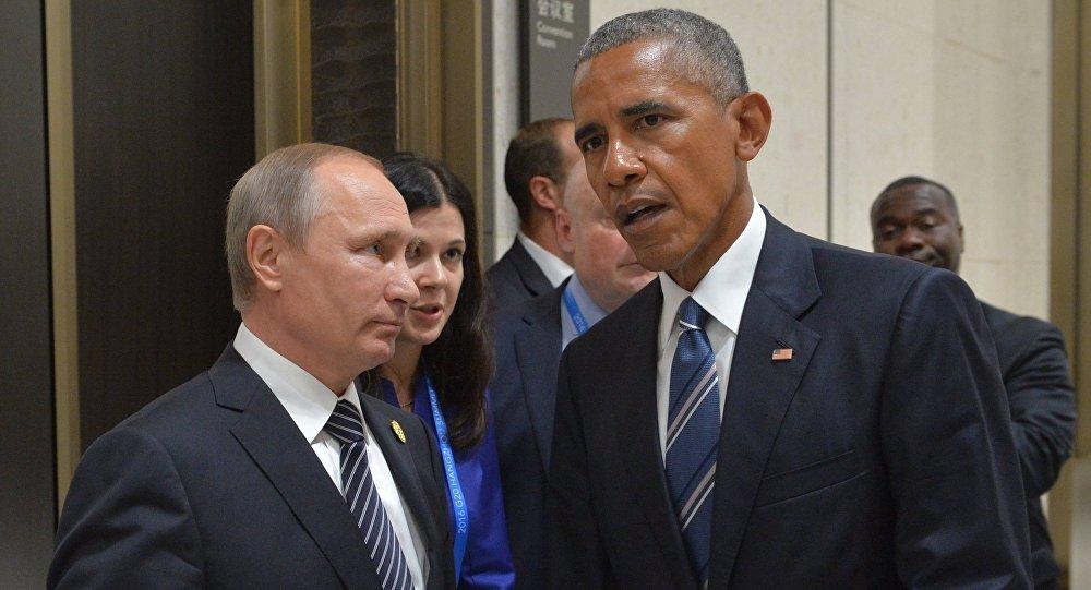 Presidente de Rusia, Vladímir Putin con su homólogo estadounidense, Barack Obama