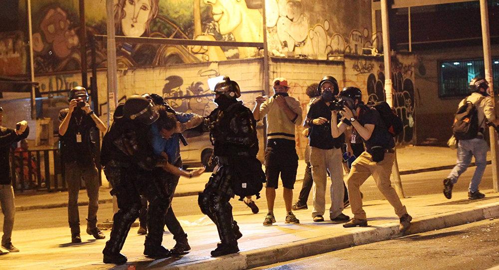 La policía dispersa una manifestación contra Temer en Sao Paulo