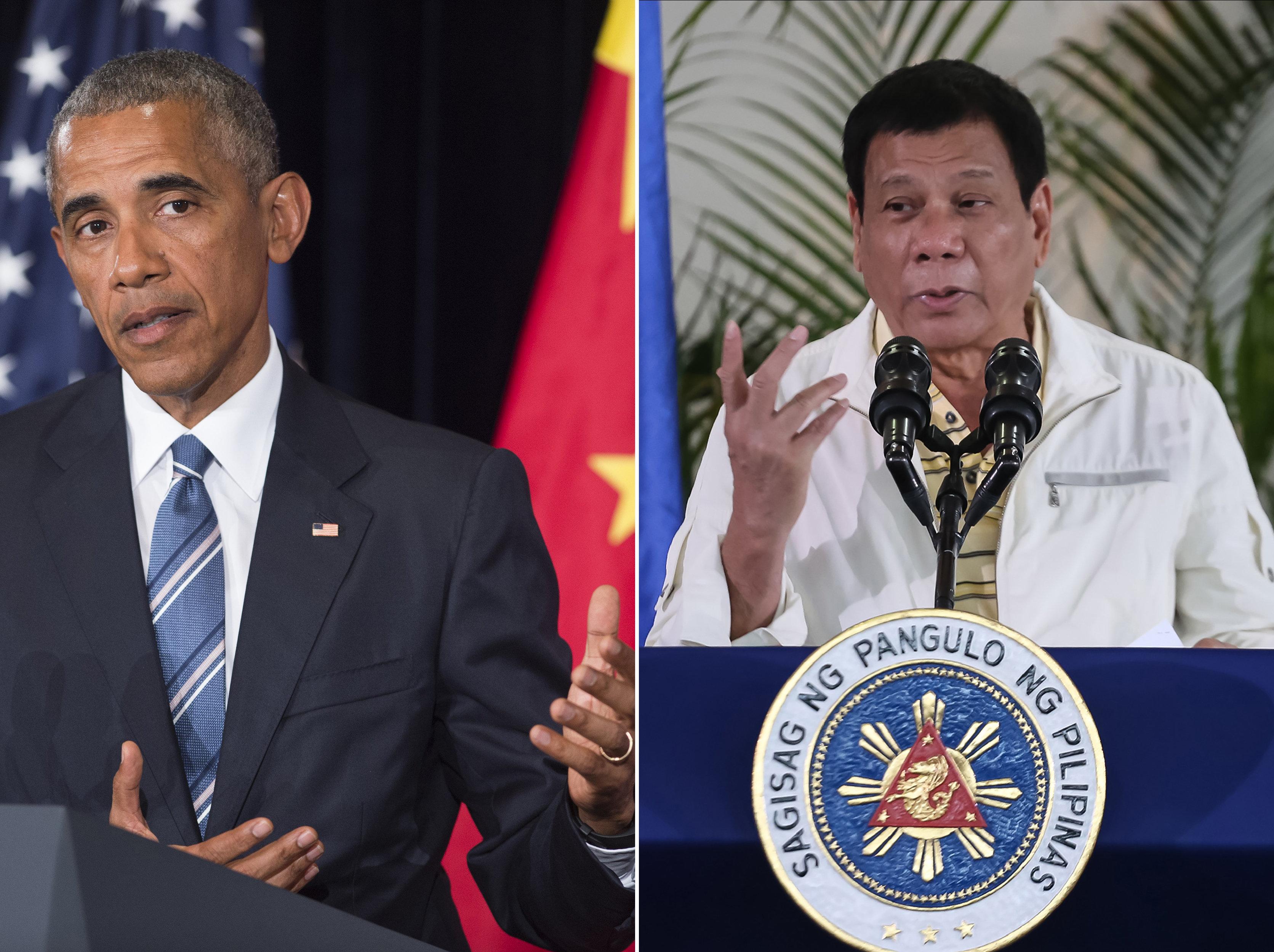 Presidente de EEUU, Barack Obama, y su homólogo filipino, Rodrigo Duterte