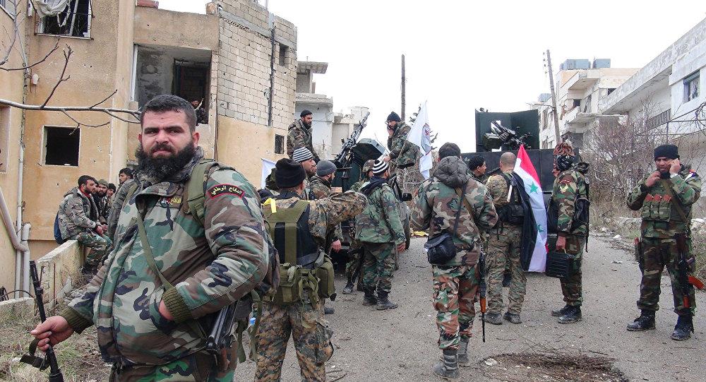 Los soldados del Ejército sirio en la ciudad de Salma, en la provincia de Latakia
