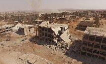 El edificio destrozado de la Escuela Aérea de Siria en Alepo