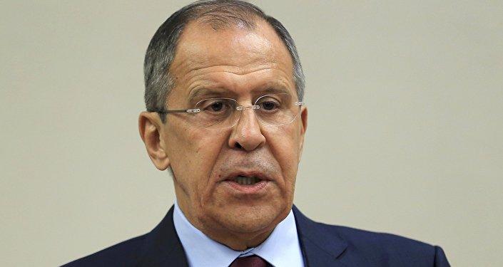 El canciller ruso Serguéi Lavrov en una rueda de prensa