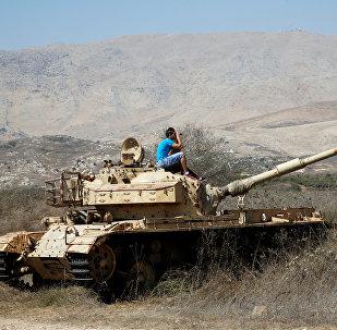 Un tanque en los Altos de Golán