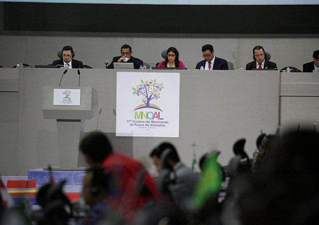 Delcy Rodríguez, ministra de Exteriores de Venezuela, en la cumbre de MNOAL