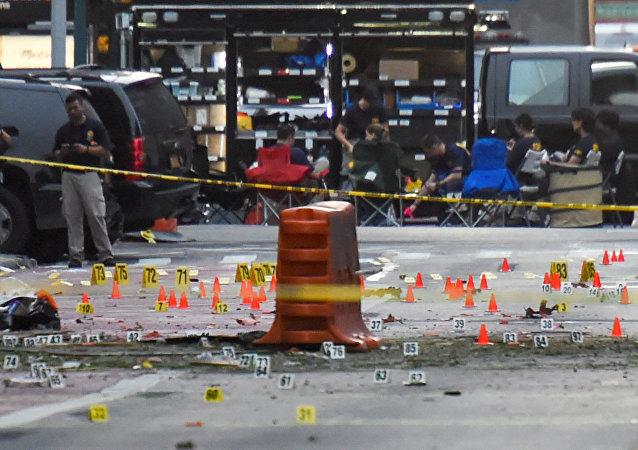 Los policías neoyorquinos en el lugar de la explosión en Manhattan