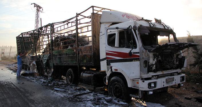 Un convoy humanitario de la ONU destruido en un bombardeo en Siria