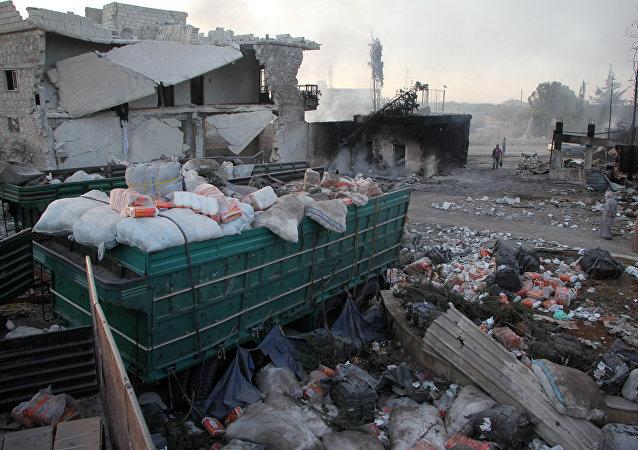 Explosión de un convoy de ayuda humanitaria (imagen referencial)