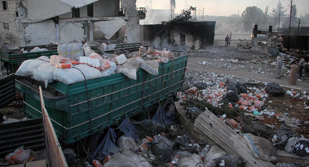 Un convoy humanitario destruido en Siria (archivo)