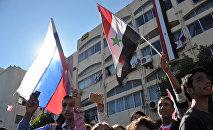 Un mitin en apoyo de la operación rusa en Siria (archivo)