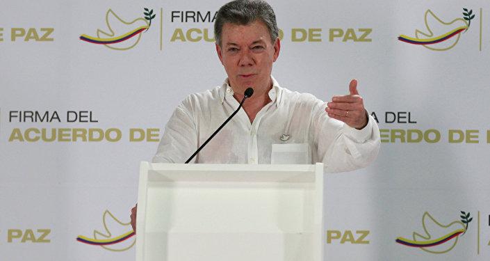 Juan Manuel Santos, presidente de Colombia, durante una conferencia de prensa el 25 de septiembre de 2016, en Cartagena