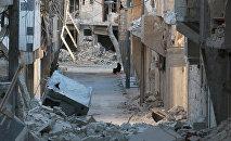 Una mujer entre las ruinas de Alepo