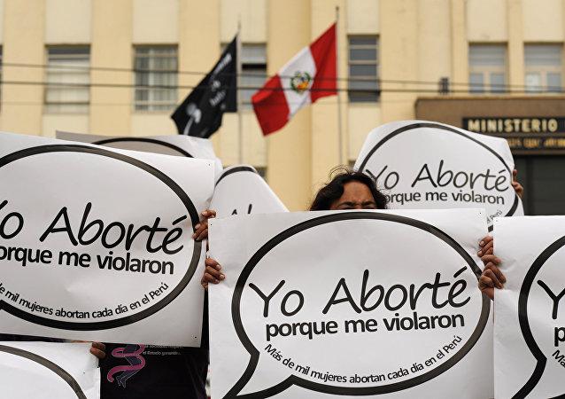 Manifestación por el aborto en Lima, Perú