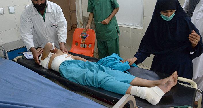 Un joven herido tras el ataque del dron estadounidense en la provincia afgana de Nangarhar, el 28 de septiembre