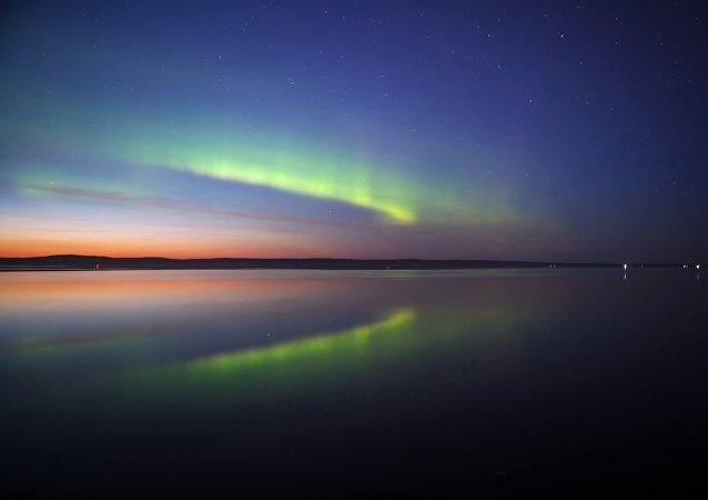 La aurora boreal en Carelia, noroeste de Rusia