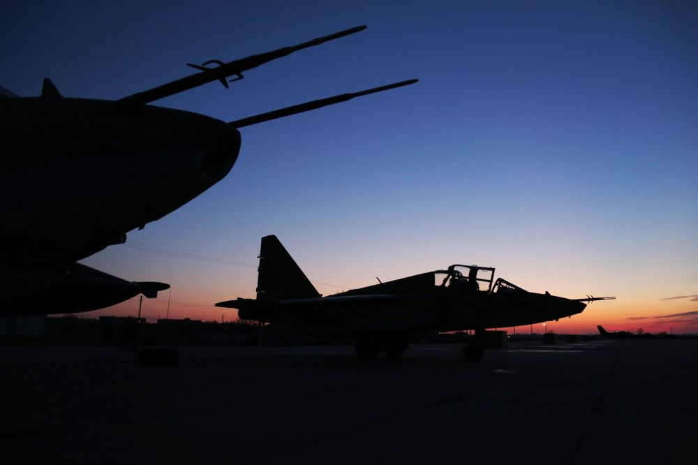 Los  aviones de combate Su-25 de las Fuerzas Aeroespaciales de Rusia