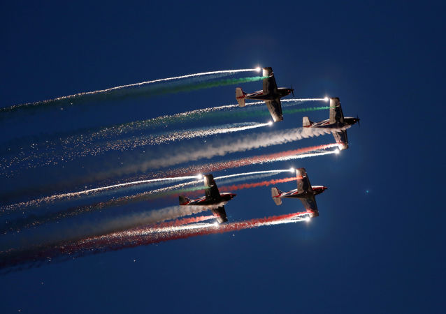 El equipo de acrobacia aérea de Italia en un show internacional en Malta.