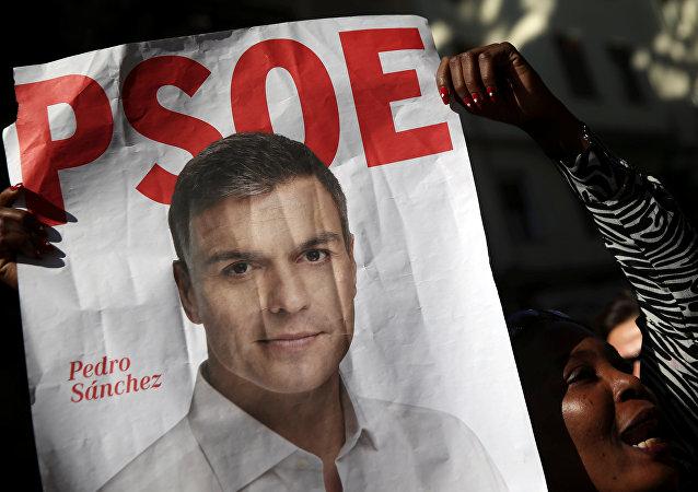 El poster con el retrato de Pedro Sánchez, lider del PSOE