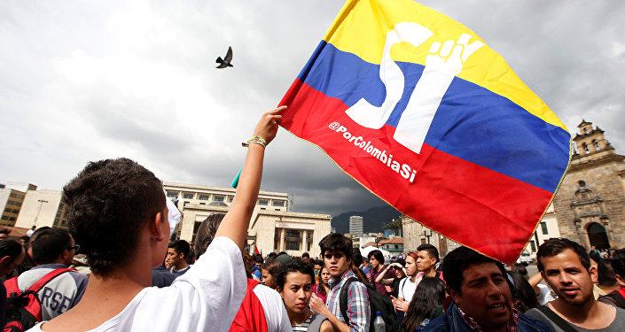 Manifestante del Sí a la Paz, en Colombia (archivo)