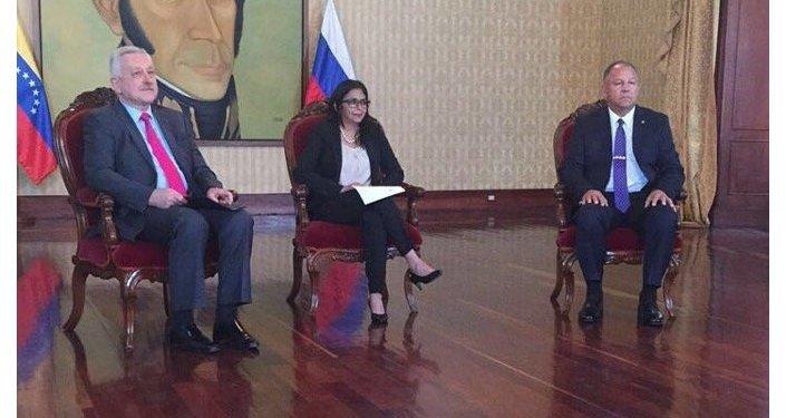 Vladímir Zaemski, Delcy Rodríguez y Juan Vicente Paredes Torrealba
