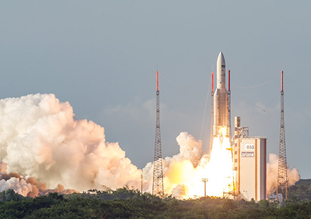 The Ariane 5 rocket lifts off from the Ariane Launchpad Area at the European Spaceport in Kourou, French Guiana, on October 5, 2016. The rocket successfully launched a pair of communications satellites, the australian SKY Muster II and the indian GSAT-18.