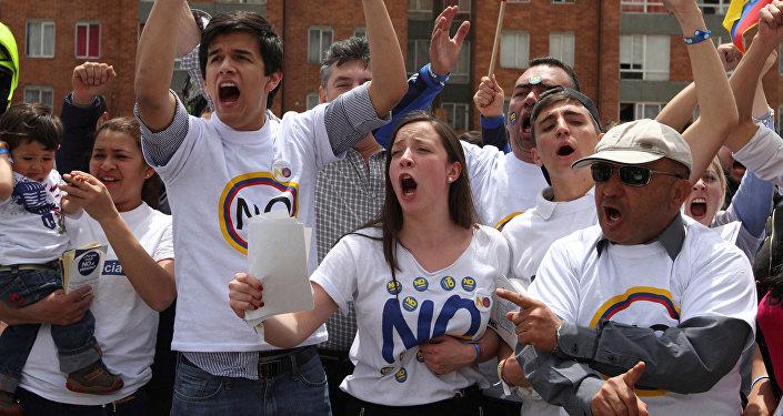 Los partidarios de decir el 'no' al histórico acuerdo de paz entre el Gobierno de Colombia y las FARC
