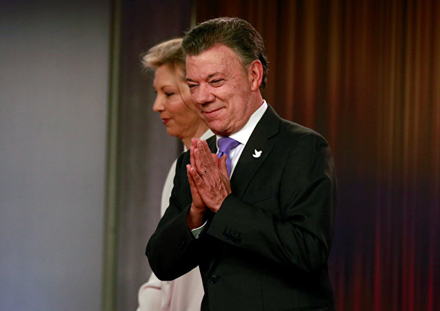 Juan Manuel Santos, presidente de Colombia, con su esposa