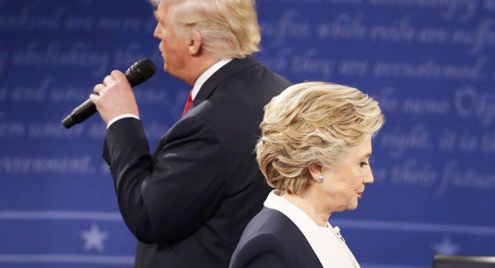 Donald Trump y Hillary Clinton durante el debate
