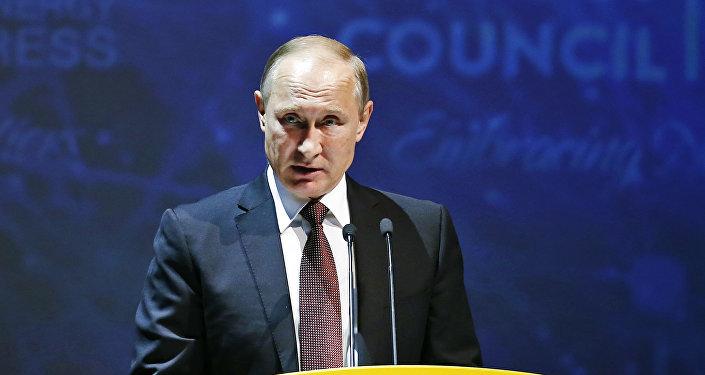 El presidente ruso, Vladímir Putin, durante su discurso en el Congreso Mundial de Energía en Estambul, el 10 de octubre de 2016