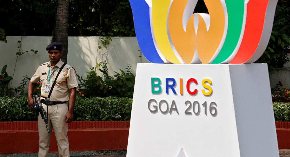 Logo de la cumbre de los BRICS en Goa, la India
