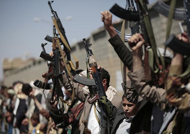 Los partidarios de los hutíes en Sana (archvio)