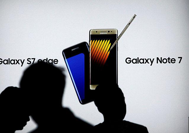 Un anuncio del smartphone Galaxy Note 7 de Samsung