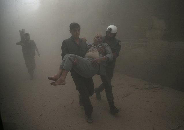 Hombre herido en Damasco, Siria