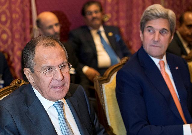 Serguéi Lavrov, ministro de Asuntos Exteriores de Rusia, en la reunión en Lausana
