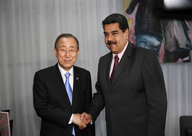El secretario general de la ONU, Ban Ki-moon, y el presidente de Venezuela, Nicolás Maduro