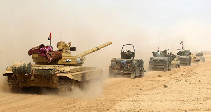 Las fuerzas iraquíes en la zona de al-Shurah, a 45 kilómetros de Mosul