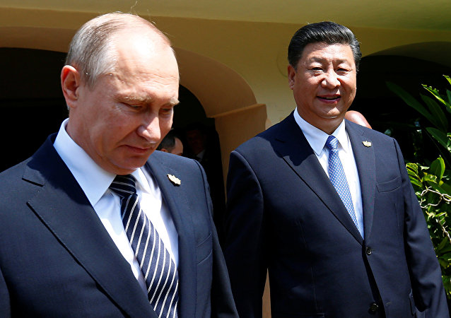 Russian President Vladimir Putin and Chinese President Xi Jinping arrive for a group picture during BRICS Summit in Benaulim