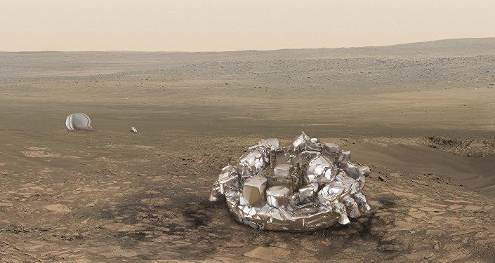 El módulo Schiaparelli en Marte (reproducción gráfica)