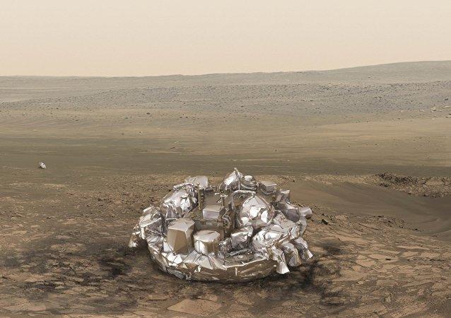 El módulo Schiaparelli en Marte (ilustración)