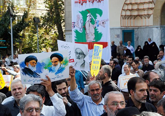 Iraníes en una manifestación contra Arabia en la capital Teherán el 9 de septiembre de 2016.