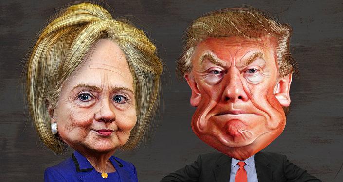 Caricatura de Clinton y Trump