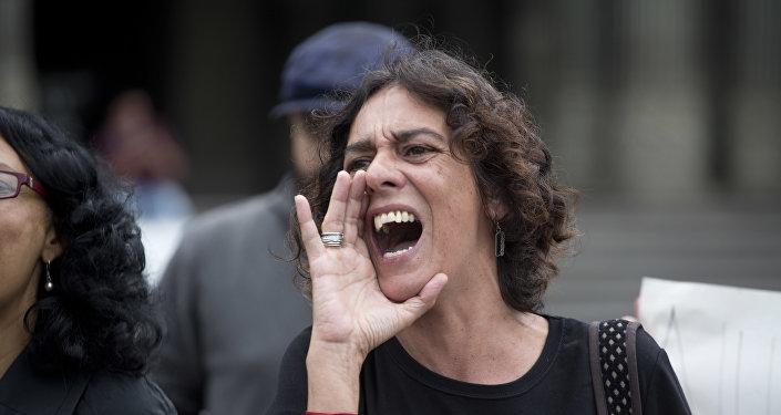 Protesta contra violencia de género en Buenos Aires