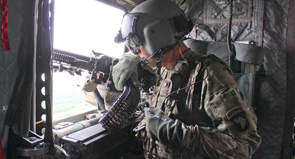 Oficial de la 101ª división aerotransportada de asalto aéreo de EEUU