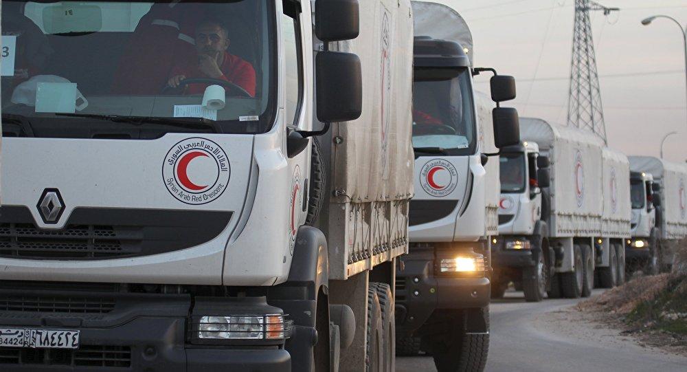 Un convoy de la Media Luna Roja (archivo)