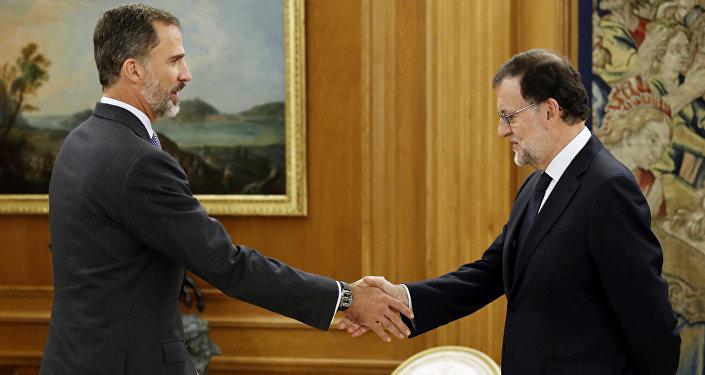 El Rey Felipe VI y el primer ministro de España, Mariano Rajoy